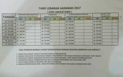 HARGA TIKET LEBARAN 2017 – BUS AGRA MAS
