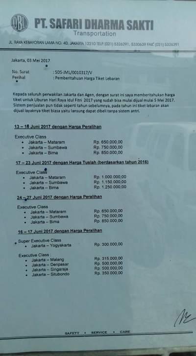 HARGA TIKET LEBARAN 2017 – BUS SAFARI DHARMA RAYA
